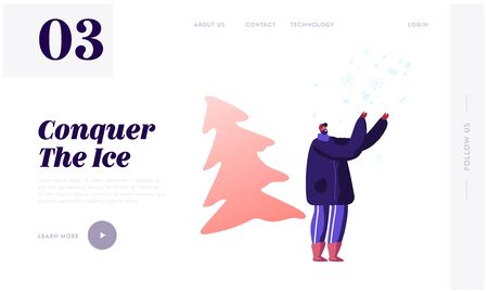 Happy Man Standing Under Falling Snow Enjoying Winter Season Vacation Website Landing Page. Character Fooling and Playing on Snowy Landscape Background Web Page Banner Cartoon Flat Vector Illustration 向量圖像