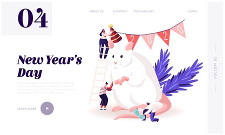 2020 New Year Holidays Website Landing Page. Group of Happy People Prepare for Party Celebration Decorate Huge White Mouse Symbol Chinese Calendar Web Page Banner. Cartoon Flat Vector Illustration