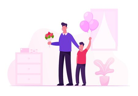 Happy Young Father with Flower Bouquet and Little Son with Balloons Bunch Stand in Hospital Room Meeting Mother and Newborn Baby from Chamber of Maternity in Clinic. Cartoon Flat Vector Illustration
