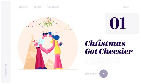 Merry Christmas and New Year Party Celebration Website Landing Page. Happy Loving Couple Kissing and Holding Hands