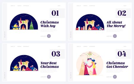 Christmas Traditions and Spare Time Website Landing Page Set. Loving Couple Spend Xmas Night Together Sitting at Fireplace and Kissing under Mistletoe Web Page Banner. Cartoon Flat Vector Illustration