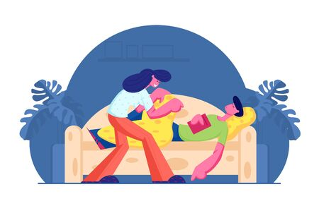 Young Woman Covering with Blanket and Care of Man Sleeping with Book in Hands on Sofa. Happy Family Couple Home Life, Love and Relations. Leisure and Good Night Wishes Cartoon Flat Vector Illustration 向量圖像