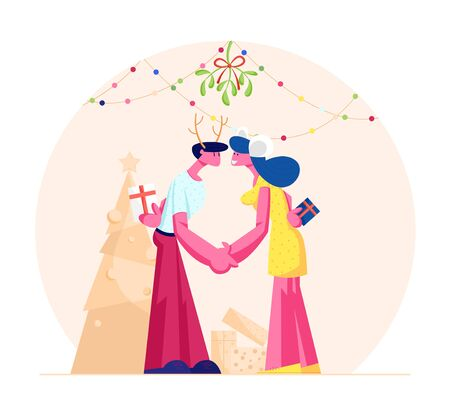 Happy Loving Couple Kissing and Holding Hands under Mistletoe Branch. Man and Woman in Festive Costumes with Gifts Merry Christmas and New Year Party Celebration. Cartoon Flat Vector Illustration 向量圖像