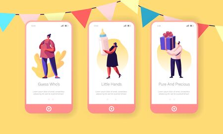 Baby Shower Event Mobile App Page Onboard Screen Set. Tiny Characters Greeting Pregnant Woman in Decorated Festive Room Giving Presents Concept for Website or Web Page Cartoon Flat Vector Illustration