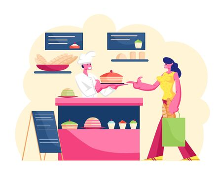 Young Woman Customer Buying Pastry in Bakery Shop with Different Production on Showcase Ordering at Counter Desk. Baker in White Uniform Giving to Girl Big Sweet Cake. Cartoon Flat Vector Illustration