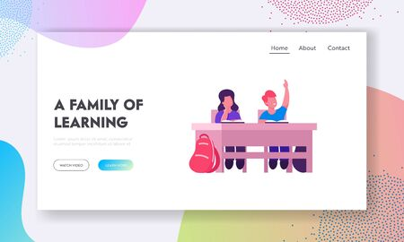 Knowledges and Education Website Landing Page. School Kids Boy and Girl Sitting at Desk in Classroom Studying. Schoolboy Raising Hand to Answer Lesson Web Page Banner. Cartoon Flat Vector Illustration