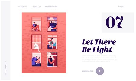 Human Life Website Landing Page. Outer Wall of House with Different People and Cat at Windows. Happy Men and Women Neighbors Look Out of Apartments Web Page Banner. Cartoon Flat Vector Illustration