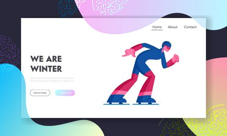 Speed Skating or Short Track Competition Website Landing Page. Sportsman Skater Moving Fast by Stadium. Winter Season Sport Recreation, Exercising Web Page Banner. Cartoon Flat Vector Illustration