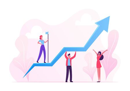 Business Characters Teamwork. Team of Businesspeople Holding Growing Arrow, Leader with Flag Standing on Top. Financial Success Career Growth Cooperation Partnership. Cartoon Flat Vector Illustration