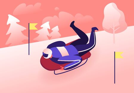 Winter Sport Skeleton. Athlete Lying on Sledge Facedown Going Fast Downhills on Snowy Track. Luger with Sport Equipment Taking Part in Winter Sports Competition. Cartoon Flat Vector Illustration