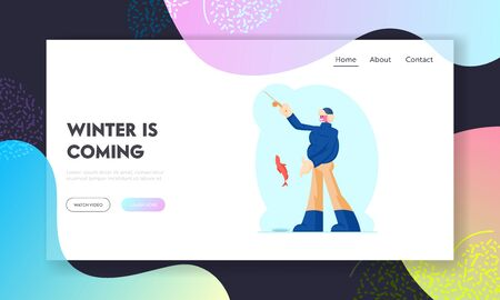 Fishing, Relaxing Wintertime Hobby Website Landing Page. Fisherman Holding Rod in Hand Showing Fish he Caught. Fishman Have Good Catch. Winter Leisure Web Page Banner. Cartoon Flat Vector Illustration