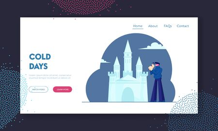 Artist Making Ice Sculpture Website Landing Page. Young Man Build Castle with Hammer for Exhibition or Festive Decoration for Winter Holidays Park. Cartoon Flat Vector Illustration Web Page Banner. Stock fotó - 132403824