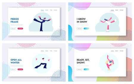 Winter Sport Figure Iceskating Activity Website Landing Page Set. Sportsman and Sportswoman Performing on Ice Rink with Skating Program. Competition Web Page Banner. Cartoon Flat Vector Illustration