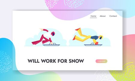 Winter Games Championship Website Landing Page. Professional Sportsmen Jumping on Sled for Riding Downhills. Sledding Skeleton Competition Web Page Banner. Cartoon Flat Vector Illustration