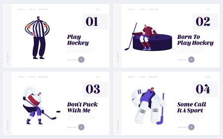 Male Characters Take Part in Hockey Competition Tournament Website Landing Page Set. Players Goalkeeper and Referee in Uniform Training on Ice Rink Web Page Banner. Cartoon Flat Vector Illustration Banque d'images - 132157683