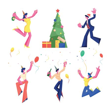 Birthday, New Year and Christmas Celebration Set. Happy People Party Fun with Champagne Gifts Decorated Xmas Tree and Confetti. Men Women Jumping and Dancing Cartoon Flat Vector Illustration, Clip Art