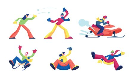 Set of Winter Time Activities and Recreational Fun. Male and Female Characters Snowball Fighting, Riding Snowmobile, Going Downhills by Sled and Tubing. Cartoon Flat Vector Illustration, Clip Art Illustration