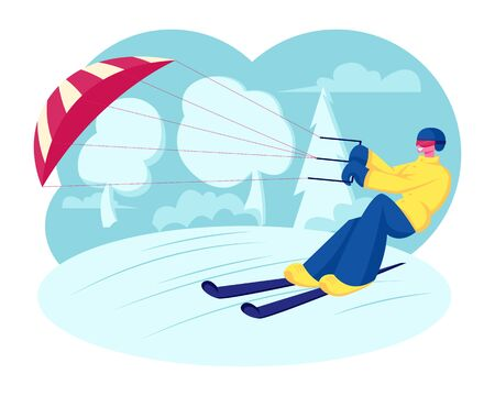 Happy Sportsman or Sportswoman in Bright Clothes Skiing with Kite on Snow-covered Frozen Surface at Winter Sunny Day. Ski Kiting or Snowkiting Extreme Sport Recreation Cartoon Flat Vector Illustration  イラスト・ベクター素材