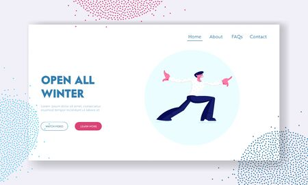 Figure Skating Championship Show Website Landing Page. Man Performer in White Shirt Making Acrobatic Element during Training Exercising. Dancing Art Web Page Banner. Cartoon Flat Vector Illustration