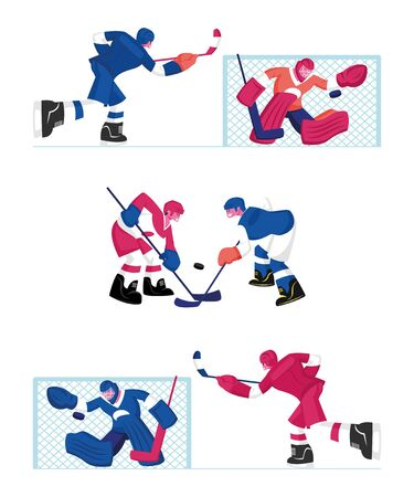 Set of Hockey Players Isolated on White Background. Men in Sports Uniform with Sticks Practicing Game. Sportsmen on Ice Rink with Equipment Competition. Cartoon Flat Vector Illustration, Clip Art