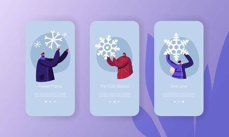 People Enjoying Winter Season Vacation Mobile App Page Onboard Screen Set. Happy Men and Women Fooling and Playing with Snow Outdoors Concept for Website or Web Page, Cartoon Flat Vector Illustration