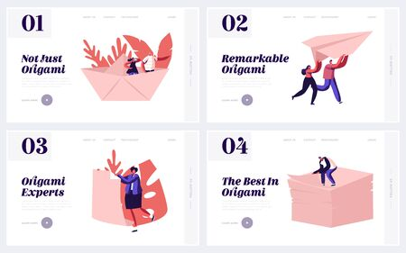 Origami Art Website Landing Page Set. Happy People Making Figures of Paper Sheets. Tiny Male and Female Character Paperwork Occupation, Creative Hobby Web Page Banner. Cartoon Flat Vector Illustration