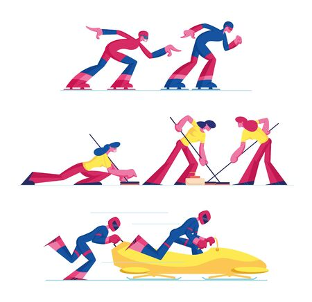 Set of Curling, Speed Skating and Bobsleigh Sports Competition Isolated on White Background. Sportsmen and Sportswomen in Sportswear Compete at Tournament. Cartoon Flat Vector Illustration, Clip Art