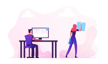 Office Workers Everyday Routine Concept. Man Sitting at Desk Working on Pc, Woman Put Sticky Notes on Timetable Rear View. Businesspeople Planning Work and Events. Cartoon Flat Vector Illustration Illustration