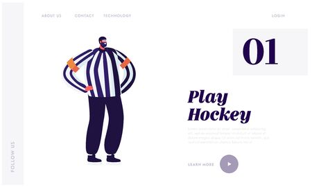 Hockey Arbiter Website Landing Page. Referee on Skates Stand on Ice Rink during Sport Championship. Judge in Striped Shirt Watching Game Tournament Web Page Banner. Cartoon Flat Vector Illustration Banque d'images - 132157327