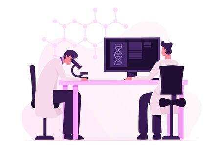 Dna Engineering and Genetics Science Concept. Scientists Conducting Experiment and Scientific Research in Laboratory. Man Look in Microscope, Technician Work on Pc Cartoon Flat Vector Illustration Banque d'images - 132157551