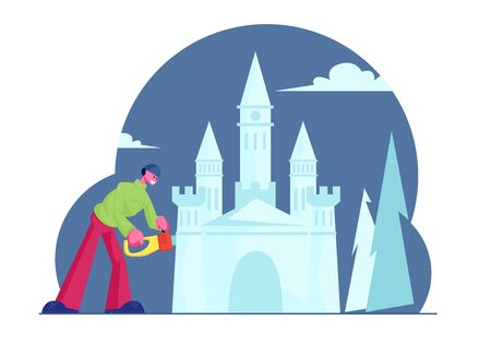 Creative Occupation and Working Process of Man with Chainsaw Creating Wonderful Ice Medieval Castle for Amusement Park or Snow Sculptures Exhibition, Winter Time Art. Cartoon Flat Vector Illustration