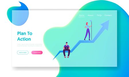 Business Goal Achievement Website Landing Page. Young Man Sitting on Huge Growing Arrow Working on Laptop, Businesswoman Leader Stand on Top with Flag Web Page Banner. Cartoon Flat Vector Illustration