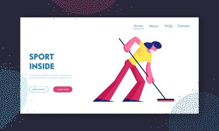 Team Sport Website Landing Page. Concentrated Woman in Sportswear Making Shot Pushing Rock with Special Brush on Ice Rink Competing at Curling Game Web Page Banner. Cartoon Flat Vector Illustration