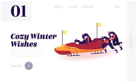 Bobsleigh Race Website Landing Page. Four Men Team Pushing Bob and Sliding Downhills during Winter Games Sledding Sport Competition Web Page Banner. Cartoon Flat Vector Illustration