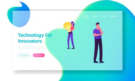 Creative Idea Website Landing Page. Young Woman Holding Huge Glowing Light Bulb, Man Stand in Thinking Posture. People Having Insight, Technologies Web Page Banner. Cartoon Flat Vector Illustration Stock Illustratie