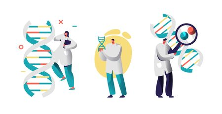 Medicine Technology Genetic Testing with App. Scientists Geneticists Working with Dna Molecule Looking through Magnifying Glass. Doctor with Beaker Laboratory Research Cartoon Flat Vector Illustration