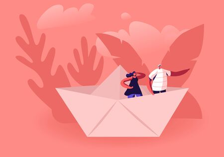 Young Happy Couple Stand in Paper Ship, Woman Looking Forward Man Pointing Way with Hand. Tiny Male and Female Characters in Origami Boat. Business or Hobby Concept. Cartoon Flat Vector Illustration Banque d'images - 132160287