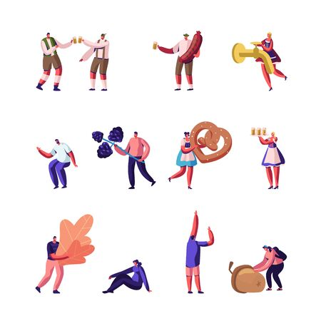 Autumn Activities and Oktoberfest Set. Characters Holding Fallen Leaves Berries and Acorn Walking in Forest or Park Happy People in Traditional Costumes with Fest Food Cartoon Flat Vector Illustration