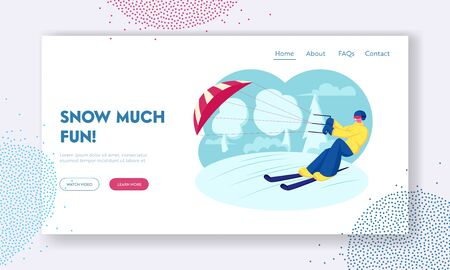 Ski Kiting or Snowkiting Extreme Sport Recreation Website Landing Page. Happy Sportsman or Sportswoman Skiing with Kite on Snow-covered Frozen Surface Web Page Banner. Cartoon Flat Vector Illustration Illustration