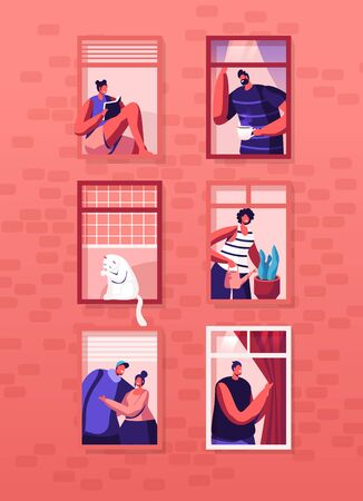 Human Life Concept. Outer Wall of House with Different People and Cat at Windows. Happy Men and Women Look Out of Apartments Drink Tea, Hugging, Watering Plant, Read. Cartoon Flat Vector Illustration Banque d'images - 132159898