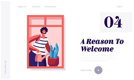 People Life Household Activities and Living Behaviour Website Landing Page. Facade of House Building with Young Happy Woman Watering Plants on Window Web Page Banner Cartoon Flat Vector Illustration
