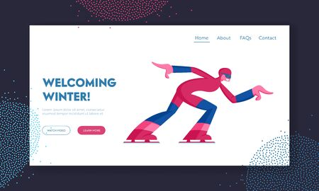 Skating Athlete Competing Website Landing Page. Speed Skater Woman Skating on Ice Rink, Short Track Race Skater Run to Finish Winter Sport Competition Web Page Banner. Cartoon Flat Vector Illustration Illustration