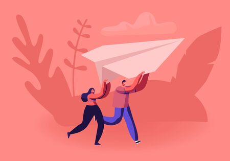 Happy Couple Running with Paper Airplane in Hands. Origami Hobby or Launching New Business Start Up Concept. Tiny Male and Female Character Fly Plane in Air Together. Cartoon Flat Vector Illustration Banque d'images - 132159517