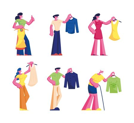 People Buying Dress Set. Young and Senior Men Women Choosing New Fashioned Clothes in Store Buying Garment in Apparel Boutique in Mall. Characters Shopping Spare Time Cartoon Flat Vector Illustration  イラスト・ベクター素材