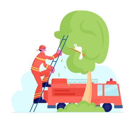 Tapferer Feuerwehrmann in roter Schutzuniform und Helm klettert auf die LKW-Leiter, um die Katze vor dem hohen Baum zu retten, während das Feuerwehrauto in der Nähe steht. Beruf des Feuerwehrmannes Retter. Flache Vektorillustration der Karikatur