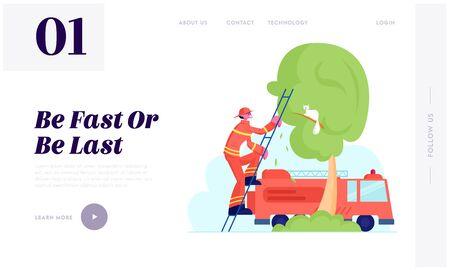 消防士救助職業ウェブサイトランディングページ。赤い保護ユニフォームとヘルメットの勇敢な消防士は、木のWebページバナーから猫を救うために