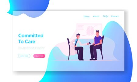 Neurological Doctor Appointment Website Landing Page. Neurologist Practitioner Making Medical Examination to Patient Hitting Knee with Medical Hammer Web Page Banner. Cartoon Flat Vector Illustration Иллюстрация