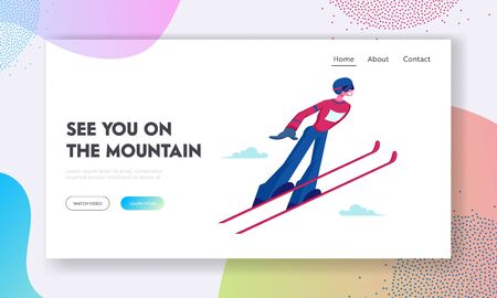 Skier Making Jump Website Landing Page. Athlete Man in Warm Clothes, Helmet and Glasses Jump Skiing. Winter Season Sport 일러스트