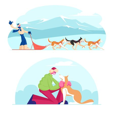 Winter Season Activities and Holidays Sport. Musher Riding Dog Sled Team Flying Gracefully Across Frozen Snowy Tundra Plain. Man Caress Pet at Winter Day Outdoors. Cartoon Flat Vector Illustration