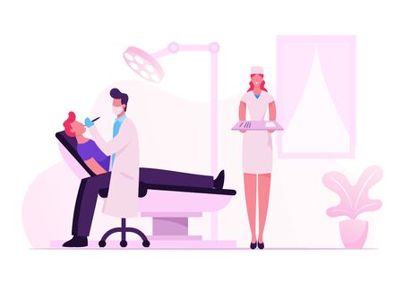 Man Patient Lying in Medical Chair in Stomatologist Cabinet with Equipment. Doctor Dentist Conducting Client Health Check Up or Treatment, Nurse Holding Instruments Cartoon Flat Vector Illustration